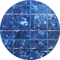 Close up of a polycrystalline solar cell