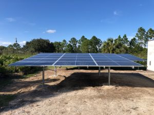 Bifacial panels on a ground mount over sand